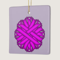 Purple Flower Ribbon Ceramic Ornament