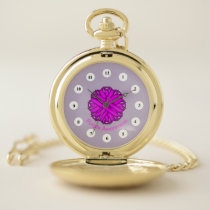 Purple Flower Ribbon (Cf) by K Yoncich Pocket Watch