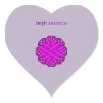 Purple Flower Ribbon Heart Sticker