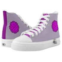 Purple Flower Ribbon High-Top Sneakers