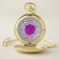 Purple Flower Ribbon (Kf) by K Yoncich Pocket Watch