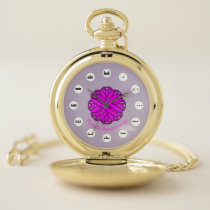 Purple Flower Ribbon (Mf) by K Yoncich Pocket Watch