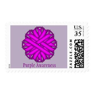 Purple Flower Ribbon Postage Stamp