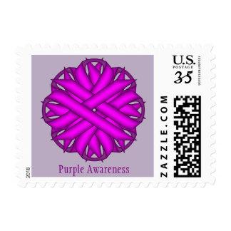 Purple Flower Ribbon Postage Stamps