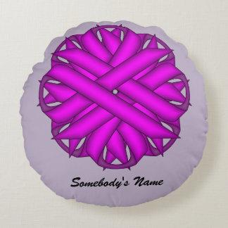 Purple Flower Ribbon Round Pillow