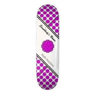 Purple Flower Ribbon Skateboard Deck