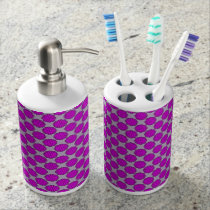 Purple Flower Ribbon Soap Dispenser And Toothbrush Holder