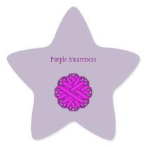 Purple Flower Ribbon Star Sticker