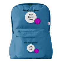 Purple Flower Ribbon Template American Apparel™ Backpack