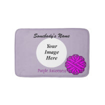 Purple Flower Ribbon Template Bath Mat