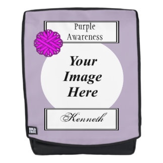 Purple Flower Ribbon Template by Kenneth Yoncich Backpack