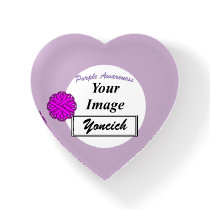 Purple Flower Ribbon Template by Kenneth Yoncich Paperweight