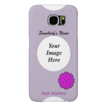 Purple Flower Ribbon Template by Kenneth Yoncich Samsung Galaxy S6 Case