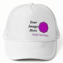 Purple Flower Ribbon Template by Kenneth Yoncich Trucker Hat