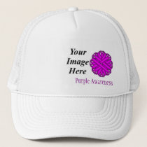 Purple Flower Ribbon Template by Kenneth Yoncich Trucker Hat