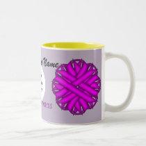 Purple Flower Ribbon Template by Kenneth Yoncich Two-Tone Coffee Mug