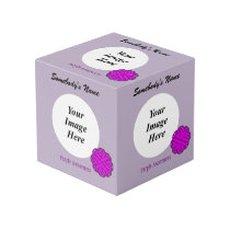 Purple Flower Ribbon Template Cube