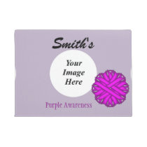 Purple Flower Ribbon Template Doormat