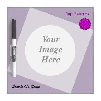 Purple Flower Ribbon Template Dry Erase Board