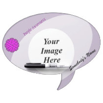 Purple Flower Ribbon Template Dry Erase Board