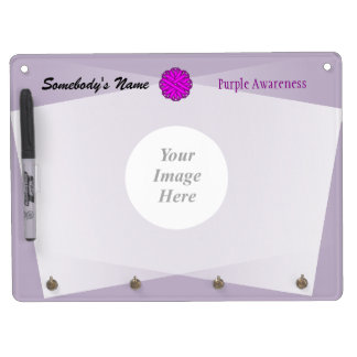 Purple Flower Ribbon Template Dry Erase Board With Keychain Holder