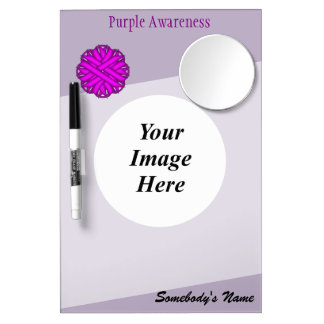 Purple Flower Ribbon Template Dry Erase Board With Mirror