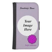 Purple Flower Ribbon Template Galaxy S4 Wallet Case