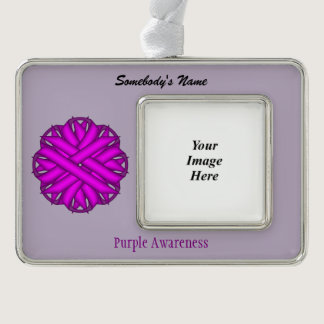 Purple Flower Ribbon Template (H-O) Christmas Ornament