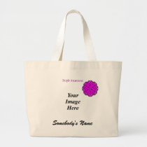 Purple Flower Ribbon Template Large Tote Bag
