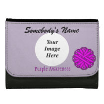 Purple Flower Ribbon Template Leather Wallet For Women