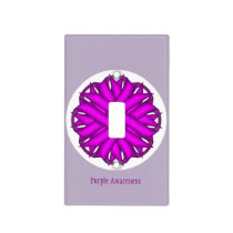 Purple Flower Ribbon Template Light Switch Cover