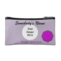 Purple Flower Ribbon Template Makeup Bag