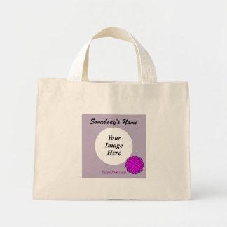 Purple Flower Ribbon Template Mini Tote Bag