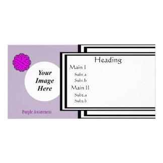 Purple Flower Ribbon Template Photo Card