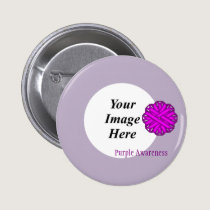 Purple Flower Ribbon Template Pinback Button
