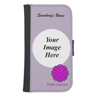 Purple Flower Ribbon Template Galaxy S4 Wallet
