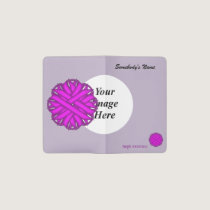 Purple Flower Ribbon Template Pocket Moleskine Notebook