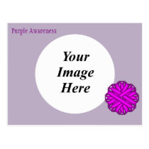 Purple Flower Ribbon Template Postcard