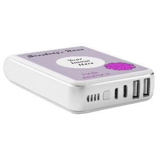 Purple Flower Ribbon Template Power Bank