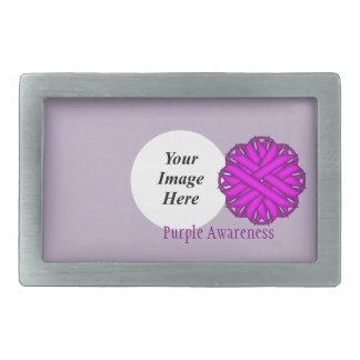 Purple Flower Ribbon Template Rectangular Belt Buckle