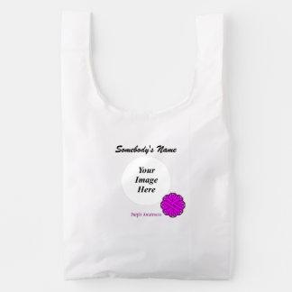 Purple Flower Ribbon Template Reusable Bag