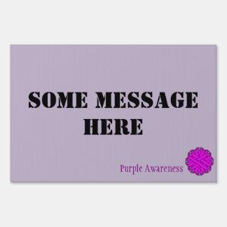 Purple Flower Ribbon Template Sign