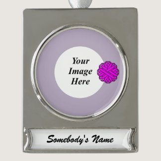 Purple Flower Ribbon Template Silver Plated Banner Ornament