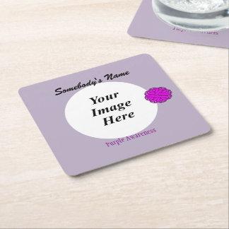 Purple Flower Ribbon Template Square Paper Coaster
