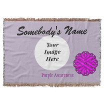 Purple Flower Ribbon Template Throw Blanket