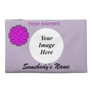 Purple Flower Ribbon Template Travel Accessories Bag