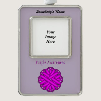 Purple Flower Ribbon Template (V-O) Silver Plated Framed Ornament