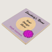 Purple Flower Ribbon Tmpl by Kenneth Yoncich Wood Coaster