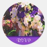 Purple Flower RSVP Stickers