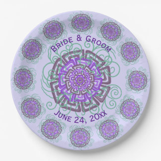 Purple Flower Rustic Abstract Floral Wedding 9 Inch Paper Plate